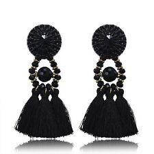 Women's Thread Long Tassel Earrings Rhinestone Drop Statement Fringe Earrings