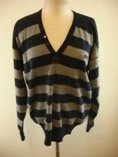 Paul & Shark Italy Yachting Sweater Blue Gray Striped Wool V-Neck Mens sz XL