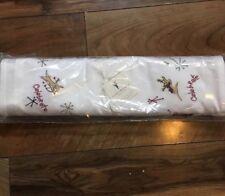 "NWT Pottery Barn Christmas Holiday Reindeer Table Runner Embroidered 18x108"" ~"