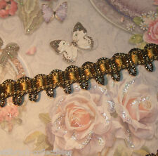 """Vintage antique gold metallic and silky thread gimp ribbon lace trim p.yd 1/2"""""""