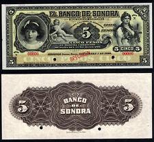 """#0991: EL BANCO DE SONORA 5 PESOS """"SPECIMEN"""" - SCARCE """"WHITE BACK"""" - GEM UNC"""