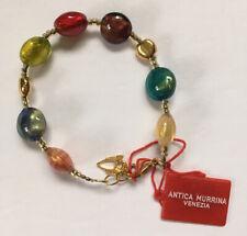 Antica Murrina Venezia Frida Bracelet Murano Art Glass Multicolor Beads Gold NWT
