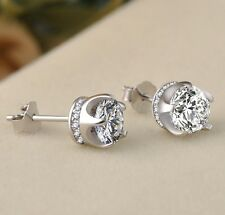Women 925 STERLING SILVER STUD Queen Diamonique CZ Crown Earrings 8mm Gift Box