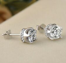 925 STERLING SILVER STUD EAR Queen Diamonique CZ Crown Earrings 8mm Gift Box