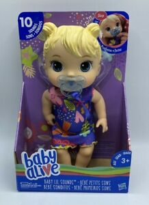 Baby Alive Baby Lil Sounds: Interactive Blonde Hair Baby Doll 10 Sounds Age 3+
