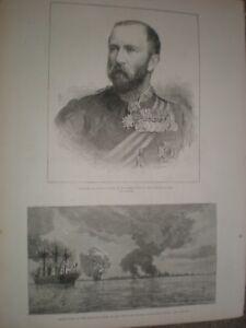 General Evelyn Wood & Peru scuttles fleet Callao 1881 prints ref AT