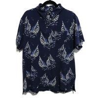 "Ralph Lauren XL 2XL 46"" Navy Blue Yachting Boating Short Sleeve Polo Shirt"