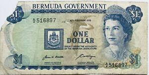 1970 1 BERMUDAN DOLLAR BANKNOTE BERMUDA ELIZABETH II NORTH AMERICA (PRE-COIN)