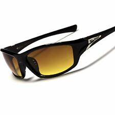 Stylish Day Night Driving Brown Amber HD Lens Black Wrap Around Sport Sunglasses