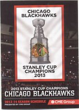 Chicago Blackhawks NHL Hockey 2013-2014 Pocket Schedule