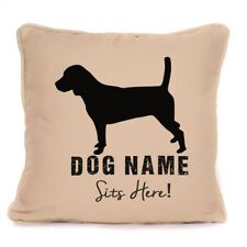 """""""Personalised Beagle Sits Here print Cushion With Pad  Gift For Dog Lover 18x18"""""""