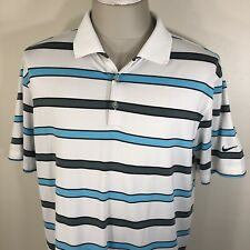 Nike Golf Tour Performance Striped Dri-Fit White Polo Shirt Men's Large L Blue