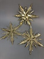 "Vintage West Germany Christmas Snowflake Paper Ornaments 9"" Gold Foil Gift"