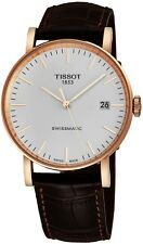 Tissot Men's Everytime Brown Strap Rose Goldtone Automatic Watch T1094073603100