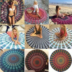 Round Geometric Boho Indian Hippie Tapestry Beach Picnic Throw Towel Mandala Mat