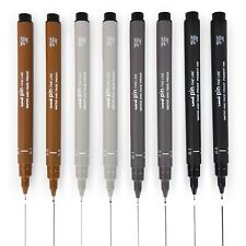 Uni Pin Fineliner Drawing Pen - Sketching Set of 8 - 0.1mm / 0.5mm - 4 Colours