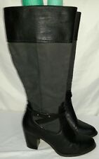 "Women's White Mountain Black Knee High Boots Heels ""Sapphire"" Size 9.5W"