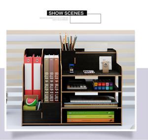 Wooden Organizer Rack Shelf Desk File Makeup Brush Holder Storage Case Pen Box