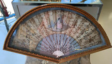Antique French Courtship Scenic Framed Ladies Fan Hand Painted Gilt Appliqués