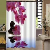 New Bathroom Shower Curtains Orchid Flower Waterproof Bath Curtain With 12 Hooks