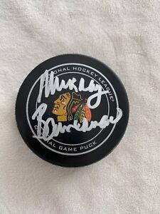 Chicago Blackhawks Murray Bannerman Autograph Official Game Puck