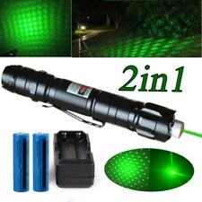 New listing 1mW 900miles Green Laser Pointer Pen 532nm Star Cap Visible Lazer+2xBatt+Charger