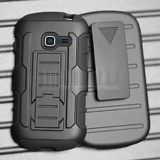 For SAMSUNG GALAXY DISCOVER CENTURA S738C Hybrid Armor Hard Case Cover Holster