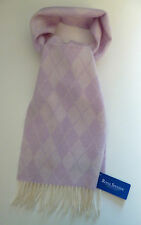 Scarf lilac purple cream argyle pattern Royal Speyside wool womens ladies NEW