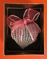 Spun Glass Christmas Tree Ornament Heart-Shaped PINK Ribbon, NIB