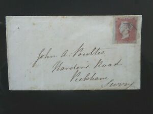 GT BRITAIN 1854 QUEEN VICTORIA 1d RED IMPERF ENVELOPE CHELMSFORD PM TO REAR