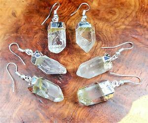 Quartz Earrings Clear Crystal Point Silver Hook Earring LR73 Healing Crystals