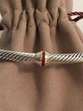 David Yurman Cable Classic Single Station Bracelet Rubies  & 14k Gold