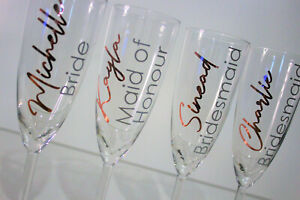 Wedding Flute Glass Personalised Name & Role - Bridesmaid Bride Grooms Rose Gold