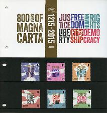Jersey 2015 estampillada sin montar o nunca montada Carta Magna 800 años 6v Paquete de Presentación conjunto de sellos de la democracia
