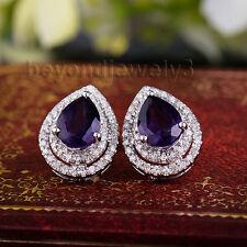 Solid 14kt White Gold 2.83Ct Diamond Pear 6x8mm Purple Amethyst Earrings