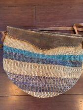 WOVEN Jute Straw Raffia Tote BAG, VINTAGE, Market Basket, Leather Straps Accents