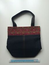 handwoven bag black with red cross stitch trim Handmade From Palestine