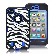 BLUE ZEBRA High Impact DEFENDER style for iphone 4/4s/4g - SHIPPED FROM USA