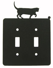Cat Double Switch Cover Plate Black