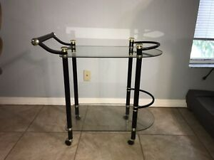 Vintage Black Metal and Glass 2 Tier Bar Drink Serving Cart Trolley