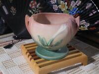 "VTG ROSEVILLE THORN APPLE Art Pottery Footed Bowl #304 Pink Mauve 6"" x 5"" x 4"""