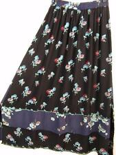 Sk201~Tienda Ho~BLACK & NAVY~Double Hem Skirt~Embroidered~RAYON~OOAK~OS (L XL?)