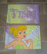 """Tink Pillowcases Lot of 2 green, blue & purple standard size says """"TINK"""" GUC"""