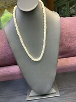 Vintage Twisted 3 Strand Mother Of Pearl Natural Necklace. Bohemian  Shell 22""