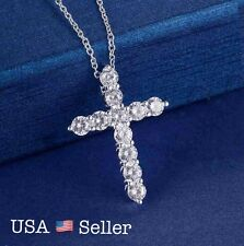 Women 925 Sterling Silver CZ Cubic Crystal Cross Pendant Necklace Diamante 18""