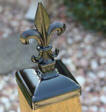 Fleur De Lis Post Caps for 4x4 Wood Fence Post, Wrought Iron Wood fence post cap