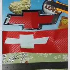 Carbon Red Fiber Vinyl Decals (2) U~Cut around Chevy Bowtie Emblems Grill/Rear