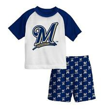 New Licensed Milwaukee Brewers Boys Pajama Set Shirt Shorts Size 8   TOO COOL!