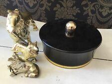 Vintage Avon Beauty Dust Powder w/Puff Occur BLACK /GOLD TRIM CONTAINER