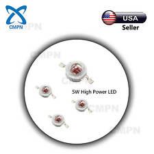 5Pcs 5W High Power Deep Red 640-660nm SMD LED Chip Plant Grow Light Beads Buld